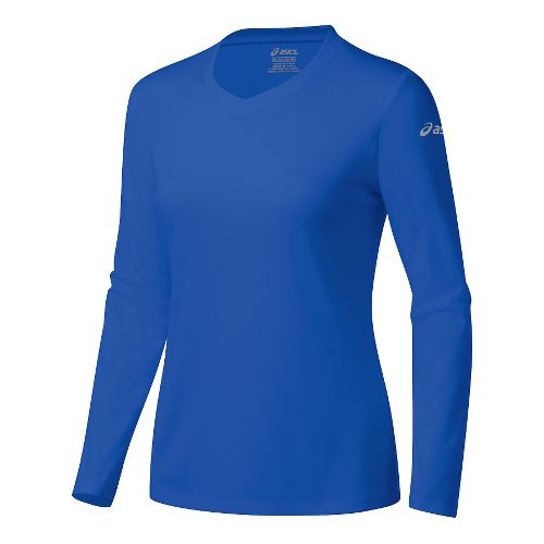 Womens ASICS Ready-Set Long Sleeve Technical Tops - Blue Purple XS