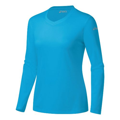 Womens ASICS Ready-Set Long Sleeve No Zip Technical Tops - Atomic Blue M