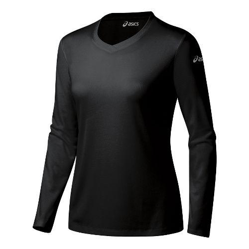 Womens ASICS Ready-Set Long Sleeve No Zip Technical Tops - Black XL