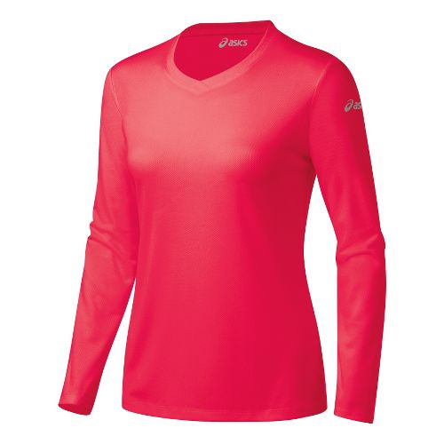 Womens ASICS Ready-Set Long Sleeve No Zip Technical Tops - Verve XL