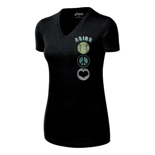 Womens ASICS Tennis Peace Love Tee Short Sleeve Technical Tops - Black M