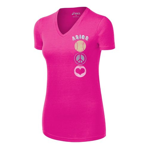 Womens ASICS Tennis Peace Love Tee Short Sleeve Technical Tops - PinkGlo M