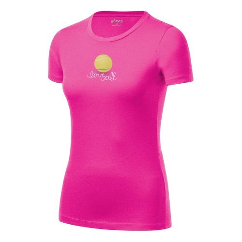 Womens ASICS Love Tee Short Sleeve Technical Tops - PinkGlo XL