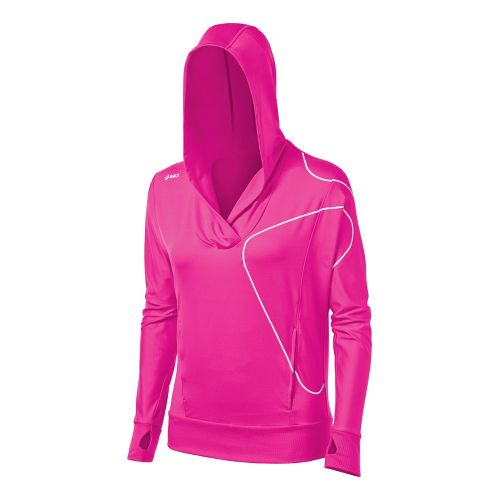 Womens ASICS Straight Sets Hoody Long Sleeve No Zip Technical Tops - PinkGlo L
