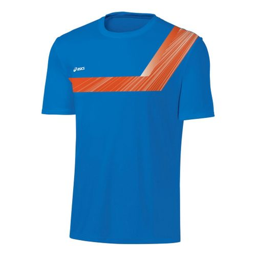 Mens ASICS Game Point Printed Short Sleeve Technical Tops - Electric/Zest XL