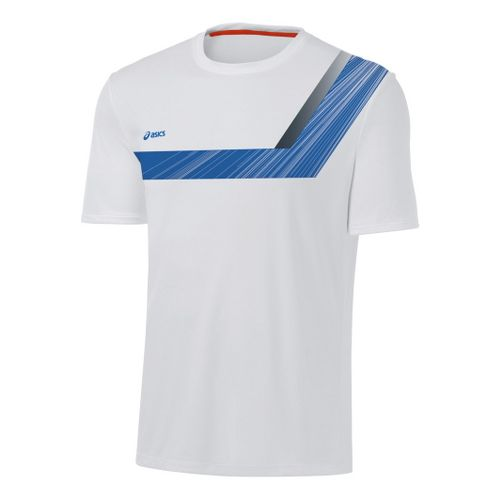 Mens ASICS Game Point Printed Short Sleeve Technical Tops - White/Electric M