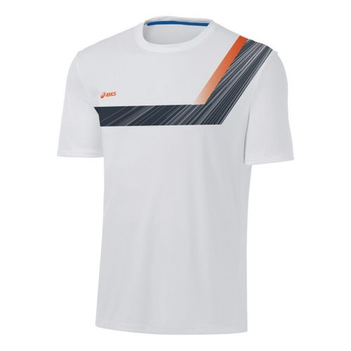 Mens ASICS Game Point Printed Short Sleeve Technical Tops - White/Steel S