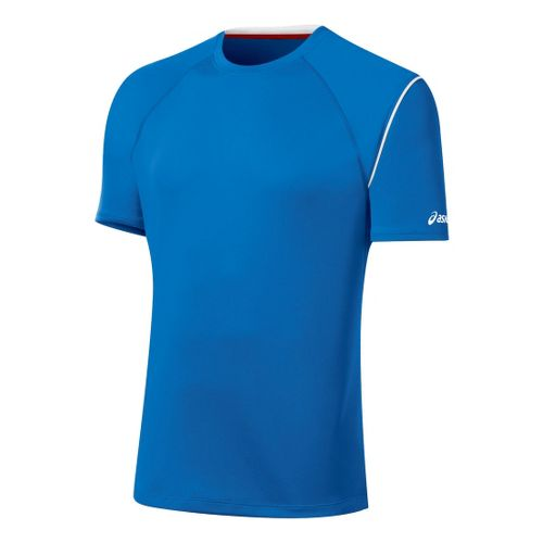 Mens ASICS Game Point Crew Short Sleeve Technical Tops - Electric M
