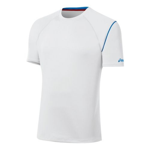 Mens ASICS Game Point Crew Short Sleeve Technical Tops - White M