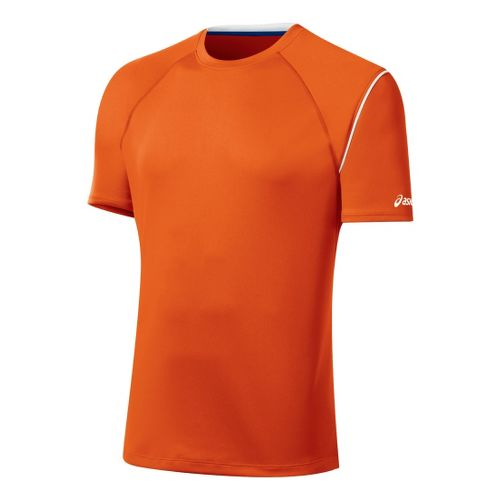 Mens ASICS Game Point Crew Short Sleeve Technical Tops - Zest S