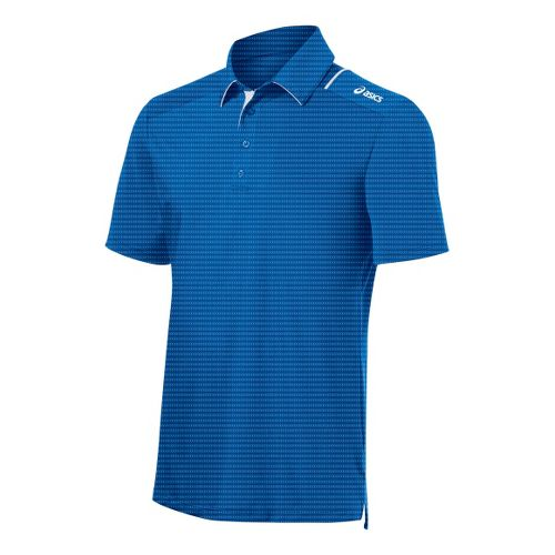 Mens ASICS Game Point Polo Short Sleeve Technical Tops - Electric XL