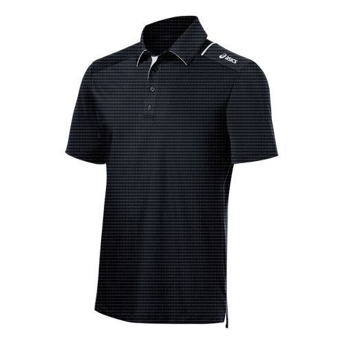 Mens ASICS Game Point Polo Short Sleeve Technical Tops - Steel L