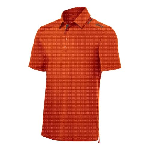Mens ASICS Game Point Polo Short Sleeve Technical Tops - Zest XL