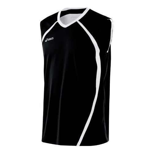 Mens ASICS Tyson Sleeveless Technical Tops - Black/White XL