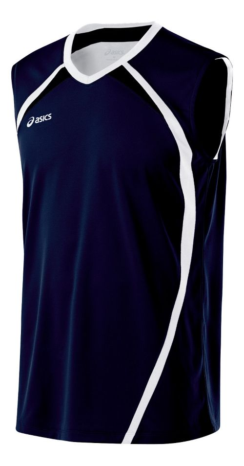 Mens ASICS Tyson Sleeveless & Tank Tops Technical Tops - Navy/White XL