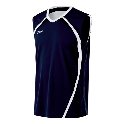 Mens ASICS Tyson Sleeveless & Tank Tops Technical Tops - Navy/White L