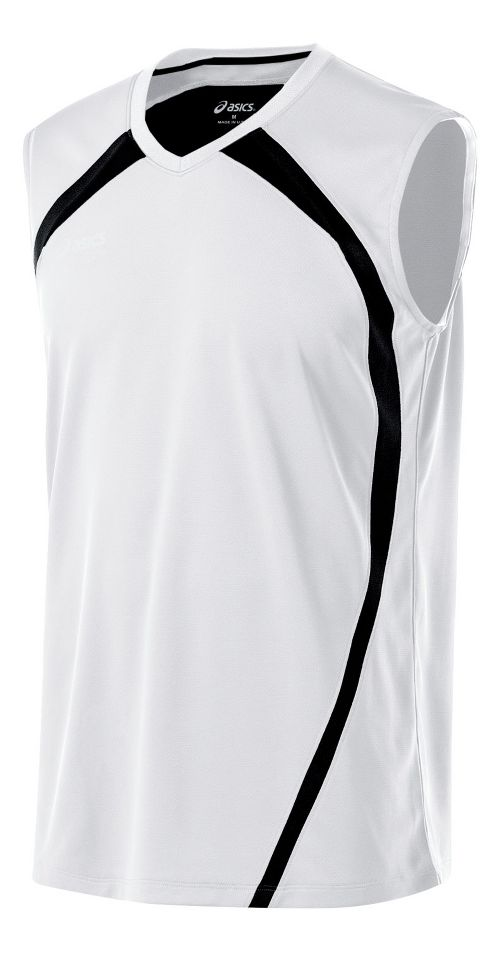 Mens ASICS Tyson Sleeveless & Tank Tops Technical Tops - White/Black XXL