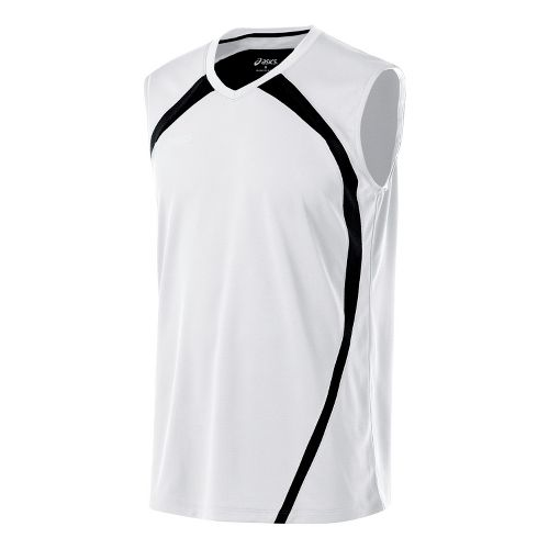 Mens ASICS Tyson Sleeveless Technical Tops - White/Black L