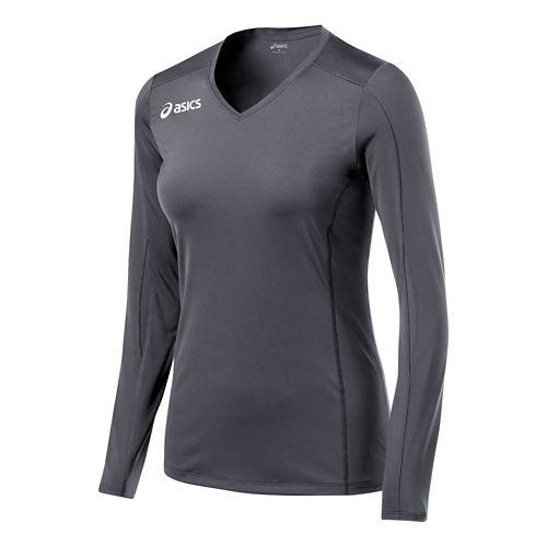 Womens ASICS Roll Shot Jersey Long Sleeve No Zip Technical Tops - Steel Grey L ...