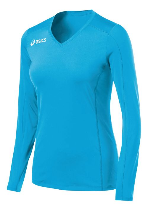 Womens ASICS Roll Shot Jersey Long Sleeve No Zip Technical Tops - Atomic Blue M