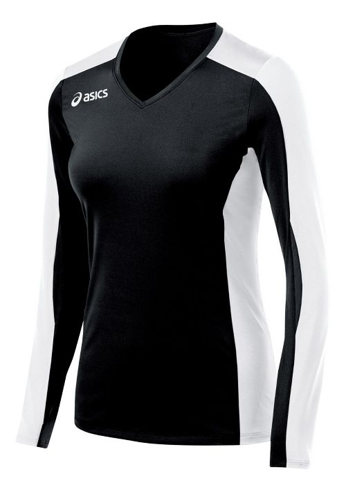 Womens ASICS Roll Shot Jersey Long Sleeve No Zip Technical Tops - Black/White L