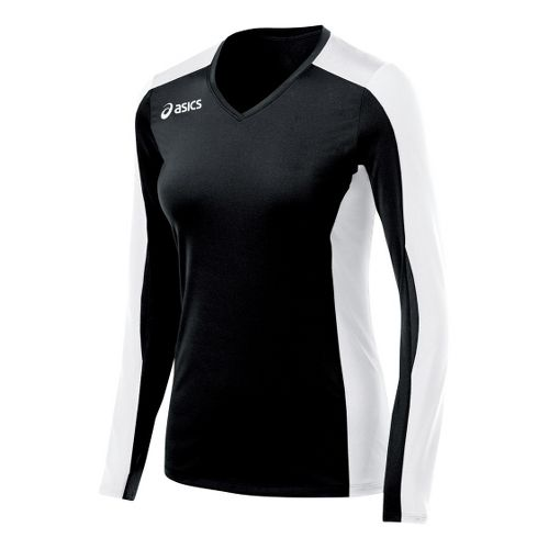 Womens ASICS Roll Shot Jersey Long Sleeve No Zip Technical Tops - Black/White XXL
