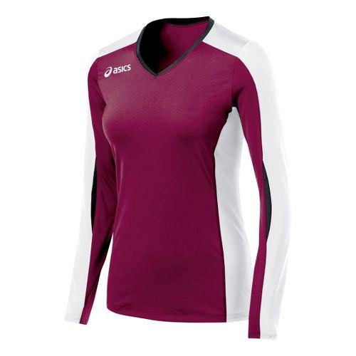 Womens ASICS Roll Shot Jersey Long Sleeve No Zip Technical Tops - Cardinal/White XL