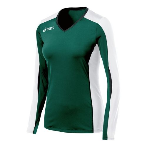 Womens ASICS Roll Shot Jersey Long Sleeve No Zip Technical Tops - Forest/White XXL