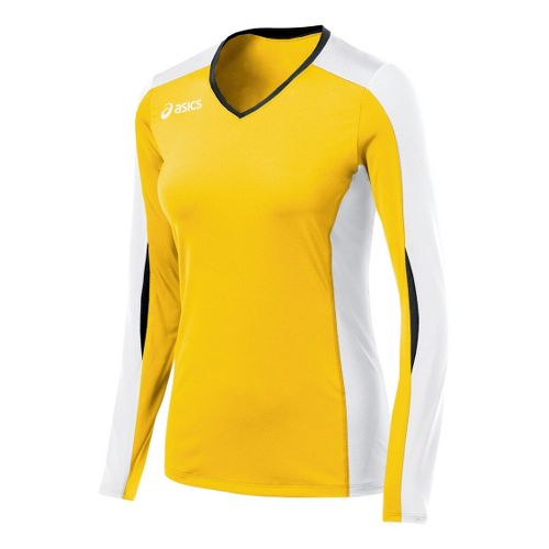 Womens ASICS Roll Shot Jersey Long Sleeve No Zip Technical Tops - Gold/White XS
