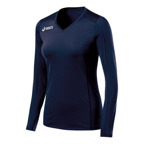 Womens ASICS Roll Shot Jersey Long Sleeve No Zip Technical Tops - Cardinal/White L