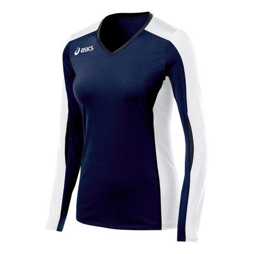 Womens ASICS Roll Shot Jersey Long Sleeve No Zip Technical Tops - Navy/White XL