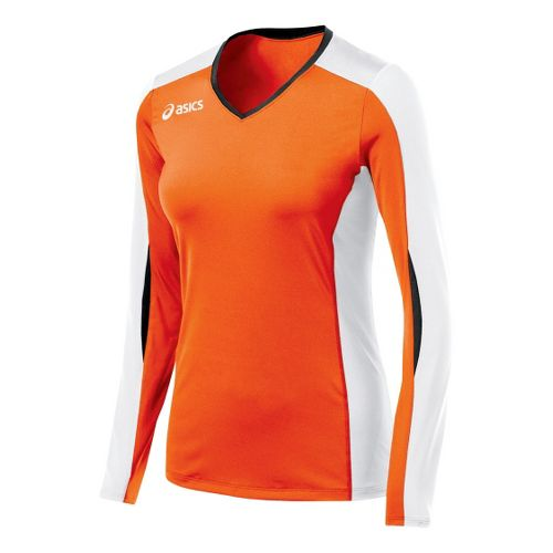 Womens ASICS Roll Shot Jersey Long Sleeve No Zip Technical Tops - Orange/White S