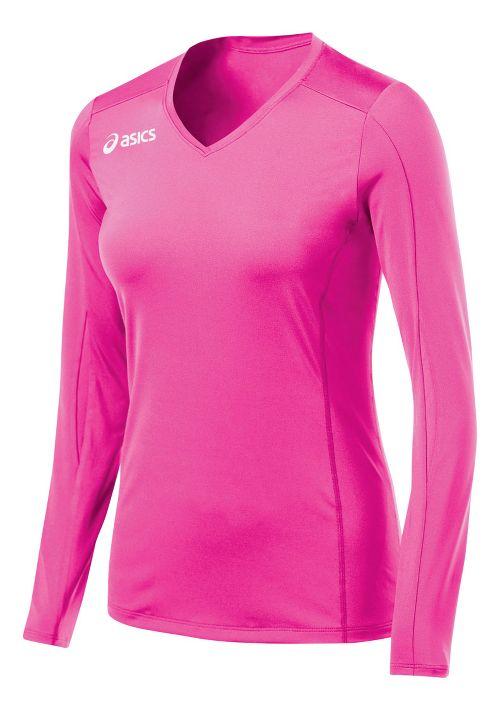 Womens ASICS Roll Shot Jersey Long Sleeve No Zip Technical Tops - PinkGlo S