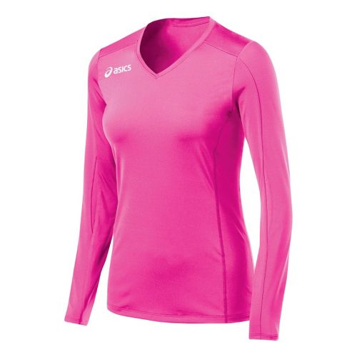 Womens ASICS Roll Shot Jersey Long Sleeve No Zip Technical Tops - PinkGlo L