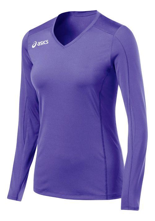Womens ASICS Roll Shot Jersey Long Sleeve No Zip Technical Tops - Purple M