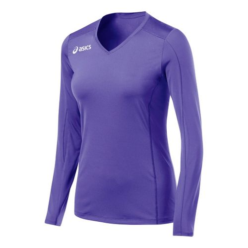 Womens ASICS Roll Shot Jersey Long Sleeve No Zip Technical Tops - Purple M
