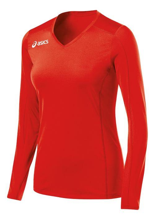Womens ASICS Roll Shot Jersey Long Sleeve No Zip Technical Tops - Red XL