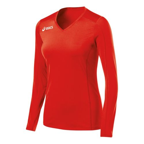 Womens ASICS Roll Shot Jersey Long Sleeve No Zip Technical Tops - Red XS