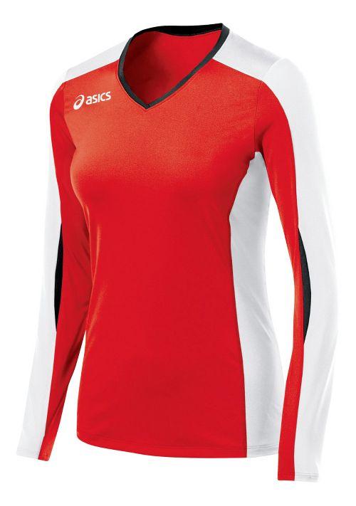 Womens ASICS Roll Shot Jersey Long Sleeve No Zip Technical Tops - Red/White XXL