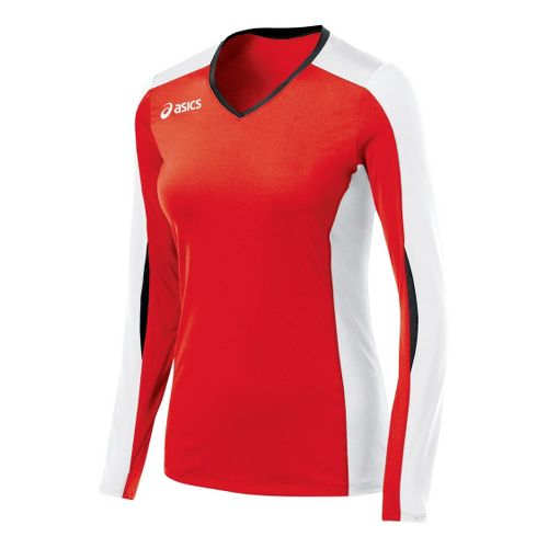 Womens ASICS Roll Shot Jersey Long Sleeve No Zip Technical Tops - Red/White XS