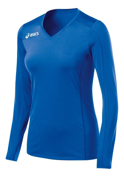 Womens ASICS Roll Shot Jersey Long Sleeve No Zip Technical Tops - Royal XXL