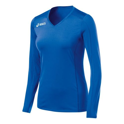 Womens ASICS Roll Shot Jersey Long Sleeve No Zip Technical Tops - Royal S
