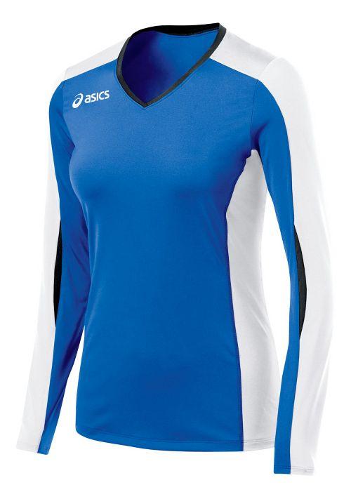 Womens ASICS Roll Shot Jersey Long Sleeve No Zip Technical Tops - Royal/White XXL