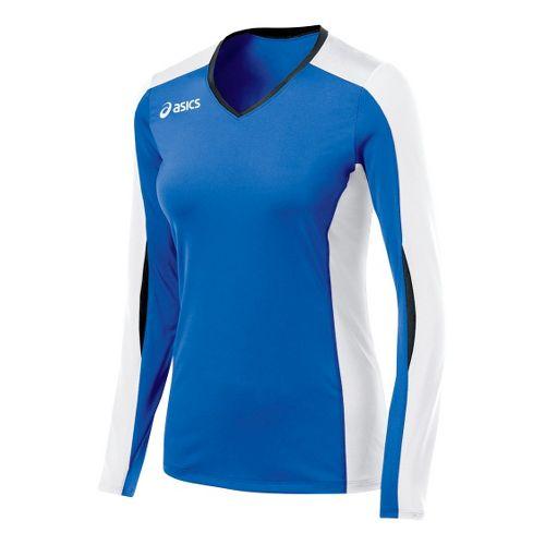 Womens ASICS Roll Shot Jersey Long Sleeve No Zip Technical Tops - Royal/White L