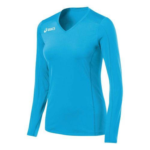 Womens ASICS Roll Shot Jersey Long Sleeve No Zip Technical Tops - Steel Grey M ...