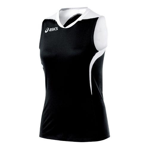 Womens ASICS Tip Tank Technical Tops - Black/White XL
