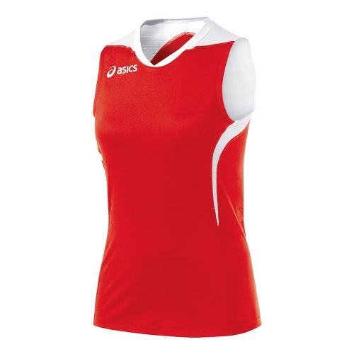 Womens ASICS Tip Tank Technical Tops - Red/White XS