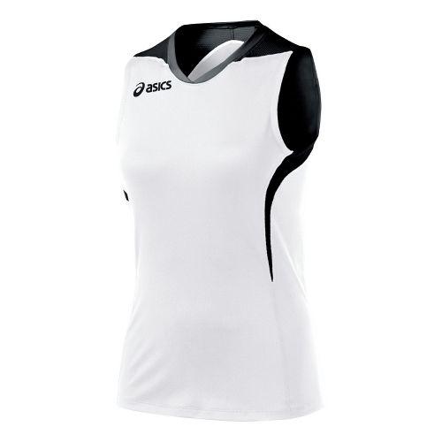 Womens ASICS Tip Tank Technical Tops - White/Black XL