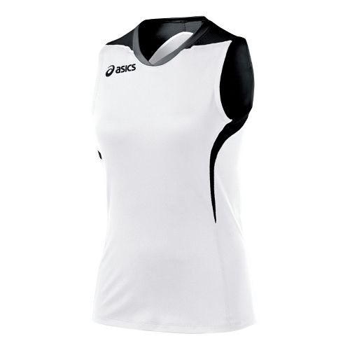 Womens ASICS Tip Tank Technical Tops - White/Black XS