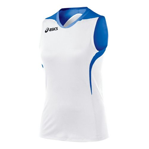 Womens ASICS Tip Tank Technical Tops - White/Royal L